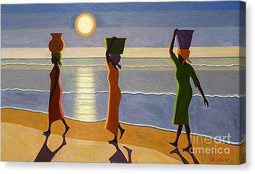 Setting Canvas Print - By The Beach by Tilly Willis