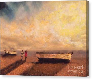 Storm Canvas Print - By The Boats by Pixel Chimp