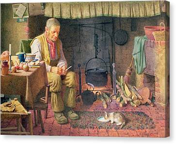 By The Fireside Canvas Print by Henry Spernon Tozer