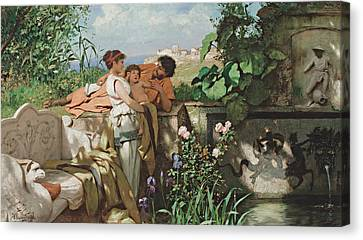 By The Fountain Canvas Print
