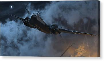 Fighter Canvas Print - Nightfighter by Robert Perry