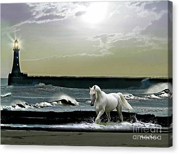 By The Light Of The Silvery Moon Canvas Print by Morag Bates