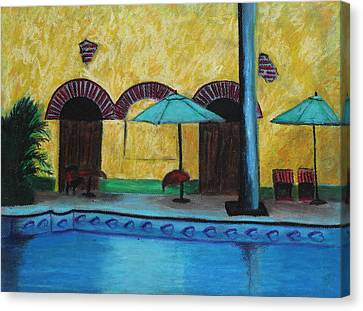 By The Poolside Canvas Print by Jeanne Fischer