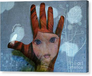 Canvas Print featuring the digital art By The Pricking Of My Thumb by Barbara Orenya
