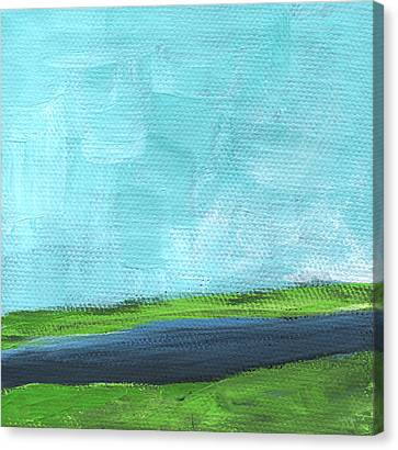 Navy Canvas Print - By The River- Abstract Landscape Painting by Linda Woods