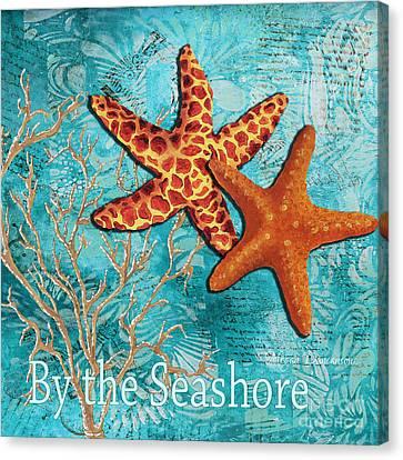 By The Sea Shore Original Coastal Painting Colorful Starfish Art By Megan Duncanson Canvas Print by Megan Duncanson