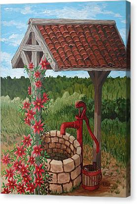 Canvas Print featuring the painting By The Water Pump by Katherine Young-Beck