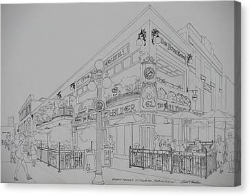 Lamp Post Canvas Print - Byward Market Aulde Dubliner Ottawa by Robert P Hedden