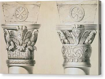 Byzantine Capitals From Columns In The Nave Of The Church Of St Demetrius In Thessalonica Canvas Print by Charles Felix Marie Texier