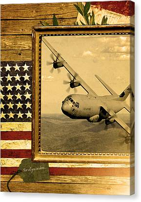 C-130 Hercules Rustic Flag Canvas Print by Reggie Saunders