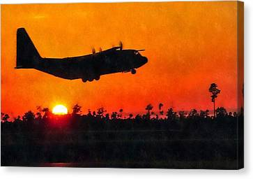 C-130 Sunset Canvas Print by Paul Fearn