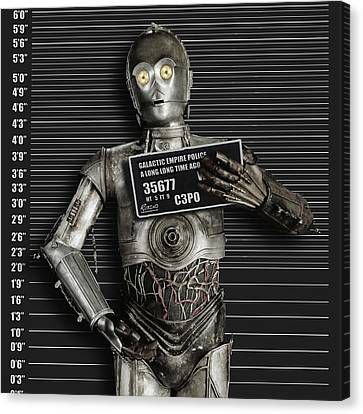 C-3po Mug Shot Canvas Print by Tony Rubino