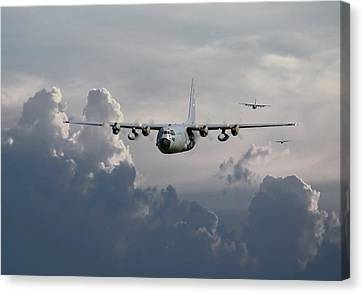 C130 Hecules    In Trail Canvas Print by Pat Speirs