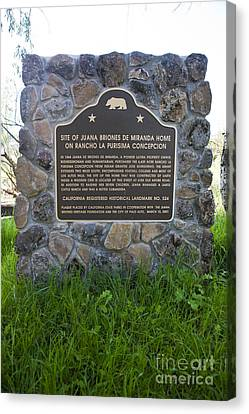 Ca-524 Site Of Juana Briones De Miranda Home On Rancho La Purisima Concepcion Canvas Print by Jason O Watson