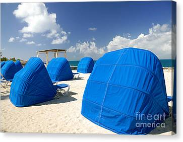 Cabanas On The Beach Canvas Print by Amy Cicconi