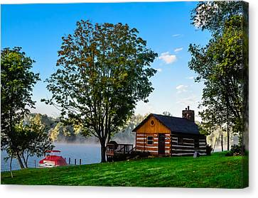 Cabin At The Lake Canvas Print