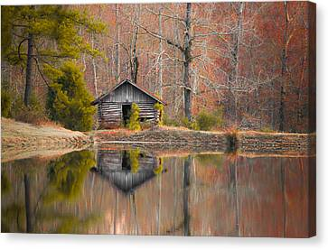 Cabin By The Lake In Autumn Canvas Print by Shelby  Young