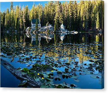 Cabin By The Lake Canvas Print by Leland D Howard