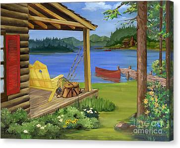 Cabin By The Lake Canvas Print by Paul Brent