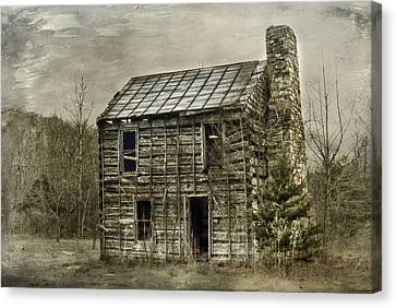 Cabin By The Track Series II Canvas Print by Kathy Jennings