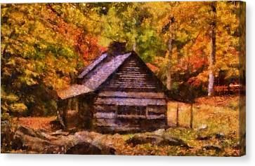 Cabin In Autumn Canvas Print by Dan Sproul