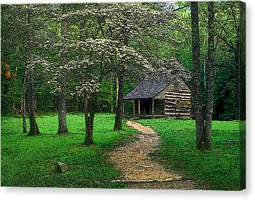 Canvas Print featuring the photograph Cabin In Cades Cove by Rodney Lee Williams