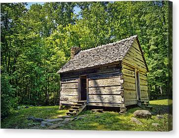 Cabin In The Smokies Canvas Print by Cricket Hackmann