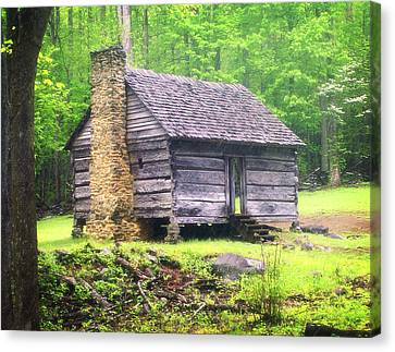 Cabin In The Smokies Canvas Print by Marty Koch