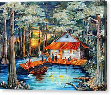 Cabin In The Swamp Canvas Print by Diane Millsap
