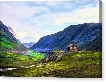 Canvas Print featuring the painting Cabin In The Valley by Tyler Robbins