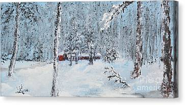 Cabin In The Woods Canvas Print by Alys Caviness-Gober