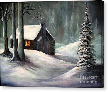 Cabin In The Woods Canvas Print by Hazel Holland