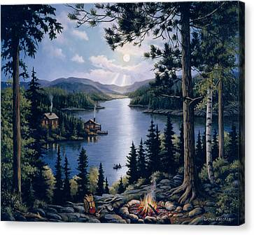 Canoe Canvas Print - Cabin In The Woods by John Zaccheo