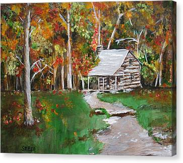 Cabin In The Woods Canvas Print by Kathy Stiber