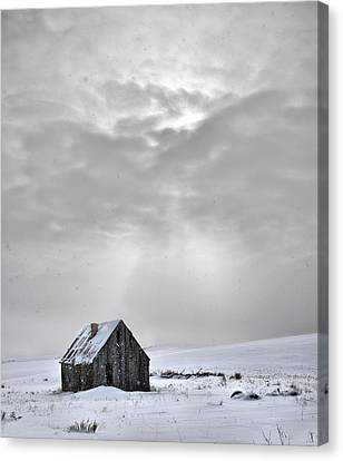 Cabin In Winter Canvas Print by Leland D Howard