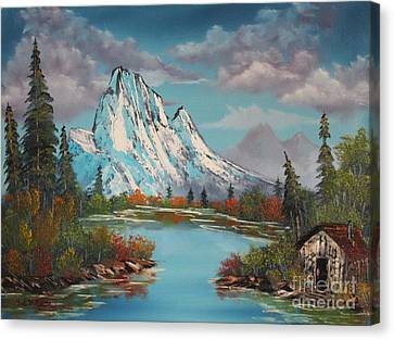 Cabin On The Lake Canvas Print by Bob Williams