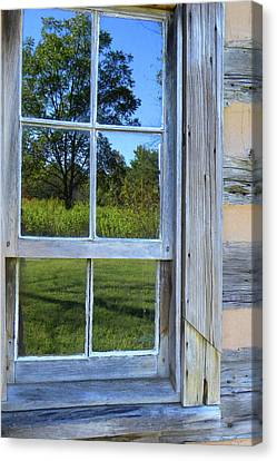 Canvas Print featuring the photograph Cabin Reflections by Larry Bishop