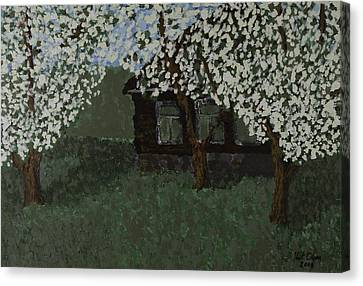 Cabin With Blossoms Woods Spring Canvas Print