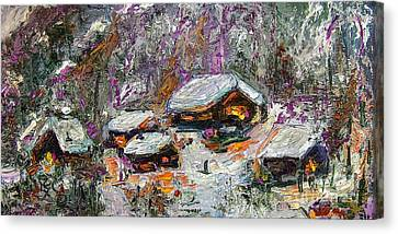 Cabins In The Snow Modern Expressionism Canvas Print by Ginette Callaway