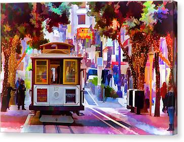 Cable Car At The Powell Street Turnaround Canvas Print by Bill Gallagher