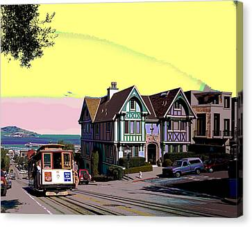 Cable Car Hyde Street Canvas Print by Charles Shoup