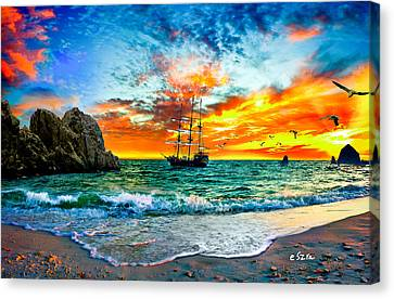 Cabo San Lucas-fantasy Pirate Ship-sailing Sunset Canvas Print by Eszra Tanner
