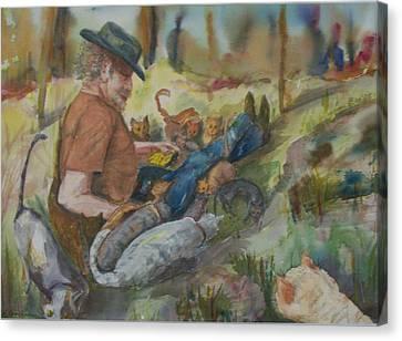 Caboodle Ranch Cats Canvas Print by Barbara McGeachen