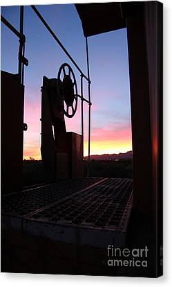 Caboose Waiting Til Dawn Canvas Print by Diane Greco-Lesser