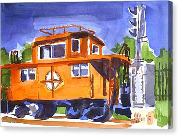 Caboose With Silver Signal Canvas Print