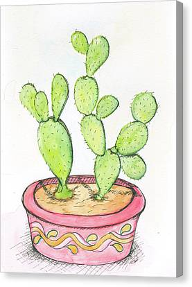 Cactus Watercolor Canvas Print - Cactus by Anne Seay