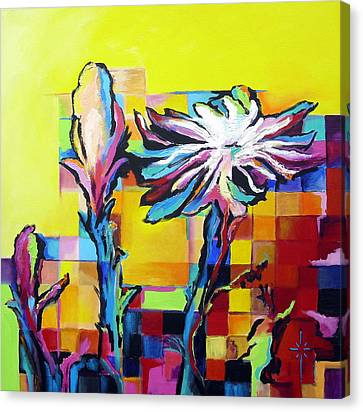 Canvas Print featuring the painting Cactus Blossom by Jodie Marie Anne Richardson Traugott          aka jm-ART