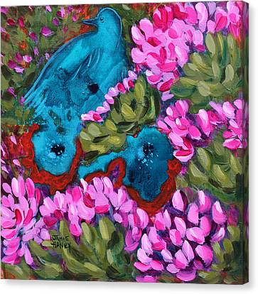 Cactus Flower Blue Bird Dream Canvas Print