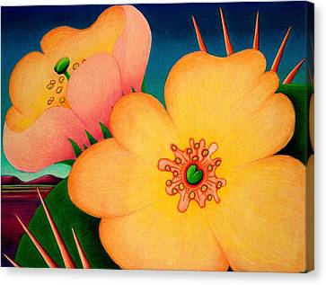 Canvas Print featuring the drawing Cactus Flower by Richard Dennis