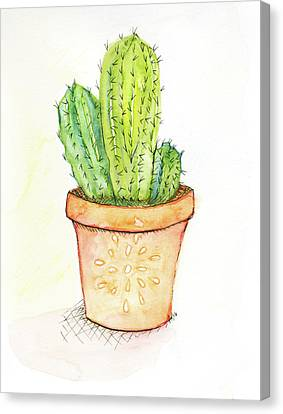 Cactus Watercolor Canvas Print - Cactus II by Anne Seay
